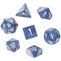 Qworkshop Set de Dés Cobalt & white x 7 Dice set